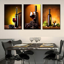 Wine&Bottle ready to hang set of 3 mounted wall art print/better than canvas art
