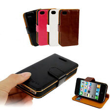 ★ ETUI PORTEFEUILLE CUIR PURE COLOR POUR IPHONE 4 / 4S ★ DYSDISCOUNT