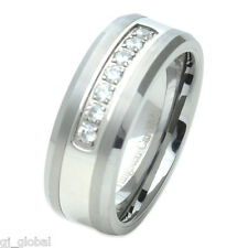 Tungsten Carbide Mens Comfort Fit Wedding Band Ring Silver CZ Gem Inlay 8mm
