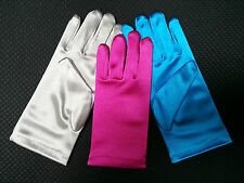 NEW Girls Short Wrist SATIN GLOVES Silver Fuschia Turquoise ages1 2 3 4 5 6 7 8