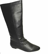 Ladies Women's Flat Pull On Slouch Biker Riding Mid Calf Boot in Black SIZE 3-8