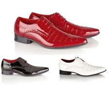 MENS ITALIAN STYLE DESIGNER INSPIRED LEATHER LINED POINTED PATENT BROGUE SHOES