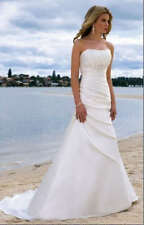 White Ivory Elegant Bridal A-line Wedding Dress Size 6 8 10 12 14 16 Petticoat