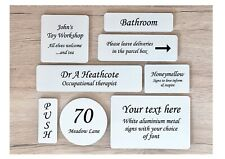 CUSTOM-MADE PERSONALISED WHITE SIGN METAL HOME or OFFICE PLAQUE: Hanging Options