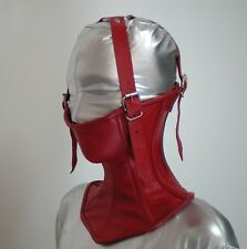 Real Leather Over Mouth Neck Corset With Over Head Straps Red