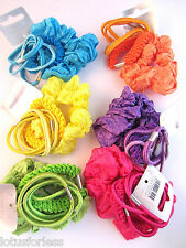 Set of Brightly coloured Scrunchie and Hair Elastics bobble ponios