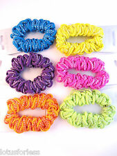 Glittery Brightly coloured Thick Cord Scrunchie Hair Elastic