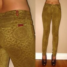 $198 Seven 7 For All Mankind Skinny Jeans Gold Metallic Waxed Leather-Look 24