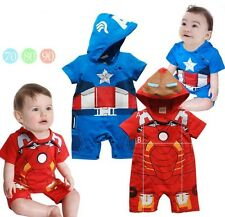 Captain America Iron Man  Baby  Infant  Outfit  Costume Romper    3  6  12  18