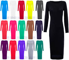 New Womens Ladies Long Sleeve Stretch Plain Bodycon Dress Midi Maxi Dress 8 - 14