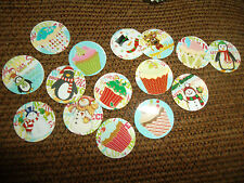 Pre Cut One  Inch SNOWMAN AND CHRISTMAS CUPCAKES  IMAGES!  Free Shipping