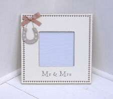 Chic & Shabby Wooden Square Standing Heart Photo Frame Wedding, Mr & Mrs Hall