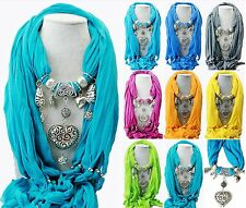 New Fashion Jewelry Vintage Heart Pendant Scarf Necklace Shawl Love Charm Women