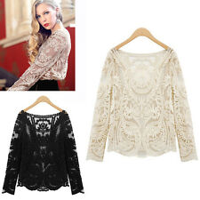 Women Sheer Sleeve Embroidery Floral Lace Crochet Tee T-Shirt Top Blouse Y393z