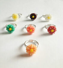 Daisy Flower Cute Size Ring Band Silver Plated Adjustable Various Colors New