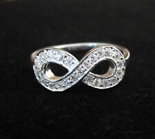 925 Sterling Silver CZ stones INFINITY symbol ring, size 6,7,8,9 US