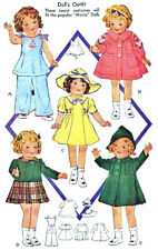 """Vintage Doll Clothes Pattern 418 ~ size 20"""" or 25"""" or 27"""" ~ cute 1938 styles"""