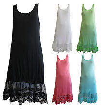 NEW FILO Cotton Sleeveless Layering Slip with Lace Hemline SIZE 8 10 12 14 16 18