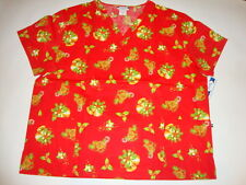 BMW, NWT Nurses Uniform Scrub V-neck Christmas tops  Plus Sizes 2X-5X