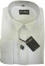 "X LONG SLEEVE Mens White Pleated Front Wing Collar Dress Shirt15""-19.5"" BNWT"