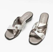 Lucia Womens Ladies Wedge Heeled Slip On Padded Summer Comfy Mule Sandals Pewter