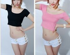 Femmes Fille sexe off-shoulder midriff-baring party t-shirt tops courts