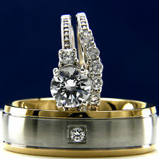 His Hers 3pcs Stainless Steel Mens Wedding & Womens Engagement Rings Sets