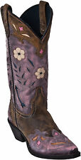 "Women's Laredo ""Miss Kate"" Tan/Pink with Arrow Inlay Snip Toe Western Boots Medi"