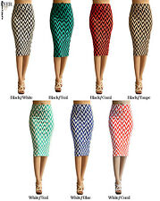 Ever77 New Waist Banded Chevron Straight Bodycon Pencil Skirts/Made in USA
