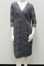 Marina Plus Size Beaded 3/4 Sleeve Lace Tiers Evening/Cocktail Dress