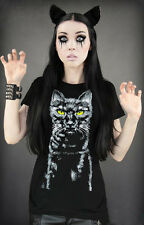Restyle T-Shirt Katze Horror Steampunk Black Cat Emo Gothic Dark Kitty XS S M L