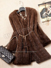 New!100% Real Genuine Knitted Mink Fur Long Coat Jacket Outwear Vintage Clothing