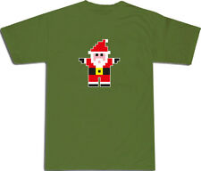 Santa Pixel Design Cool Christmas T-SHIRT ALL SIZES # Green