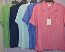 Murano 100% linen Mens Shirts Button Front Short Sleeve Slim fit S M L XL New