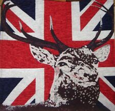 Soft Chenille Stag Union Jack Cushion Covers