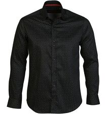 GUIDE LONDON LS72716 MEN'S LONG SLEEVE COTTON SATEEN POLKA DOT SHIRT BLACK