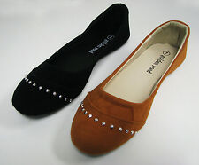New Womens Ballet Flats Fashion Faux Suede Rhinestone Ballerina Shoes Sizes:5-11