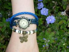 Fashion ladies watch leather band bracelet beads vintage butterfly gift Oz stock
