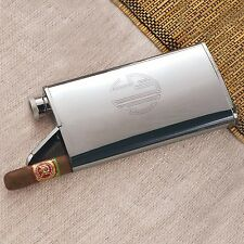 Chrome Stainless Steel 4 oz Flask with Cigar Holder + Option to Personalize