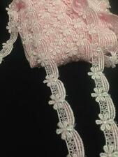 1 Inch Alternating Flower and Draping Venice Lace Trim, 5 Colors
