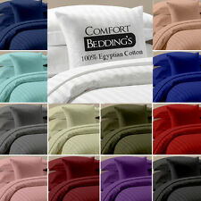 "Brand New 15 Color in Striped 1000tc 100% Egyptian Cotton 15"" DP  4pc sheet Set."