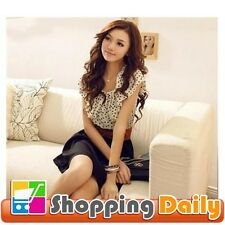 Women's Summer Short Sleeve Chiffon Dots Polka Waist Top Mini Dress