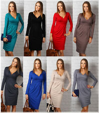 Women's Elegant Office Work Party Long Sleeve Stretch Dress Tunic V neck (6801)
