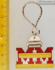 Sturdy key chain with a fancy silver-toned Minneapolis Moline shield