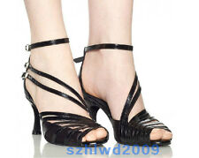 New Women Satin Tango Latin Ballroom Salsa Dance Shoes Heeled 8.5cm US 5-9 Black