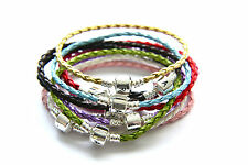 925 Stamped Silver Clasp Genuine Leather Charm Bracelet (Fit European Beads)