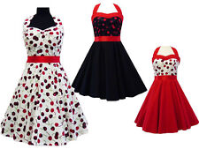 NEW VINTAGE ROCKABILLY 50'S RETRO CHERRYS PARTY EVENING SWING PARTY PINUP DRESS