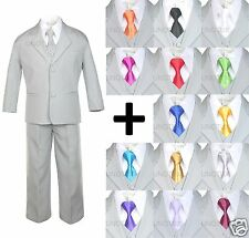 6 PC Satin Tie + Baby Toddler Kid Formal Wedding Party Tuxedo Gray Boy Suit S-20