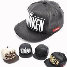 Womens Mens DRUNKEN Leather Snapback Hip-Hop Hats Baseball Cap K-POP Fashion