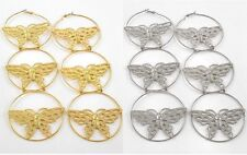 NEW OVERSIZE BUTTERFLY EARRINGS LONG HOOPS BASKETBALL WIVES GOLD OR SILVER 8""